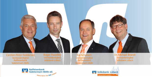 Vorstandsmitglieder Volksbank Lübeck und Raiffeisenbank Südstormarn Mölln